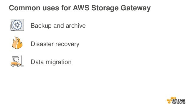 How does AWS Storage Gateway work? Amazon EBS snapshots Amazon S3 Amazon Glacier AWS Storage Gateway appliance Application...