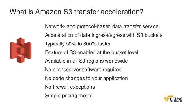 Ingest & Egress with S3 transfer acceleration S3 bucket AWS edge location Uploader Optimized throughput! Uses AWS 55 globa...