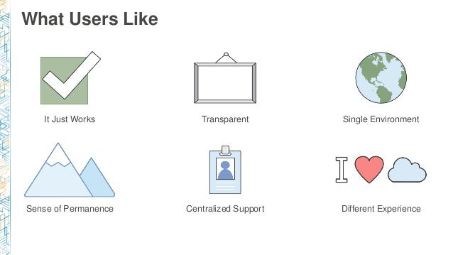 What Users Like It Just Works Transparent Single Environment Sense of Permanence Centralized Support Different Experience
