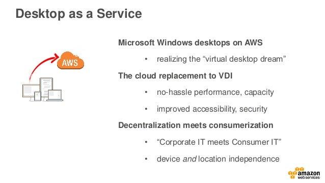 "Desktop as a Service Microsoft Windows desktops on AWS • realizing the ""virtual desktop dream"" The cloud replacement to VD..."