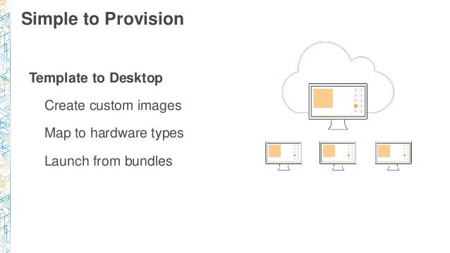 Template to Desktop Create custom images Map to hardware types Launch from bundles Simple to Provision
