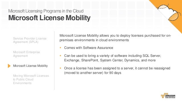 Microsoft Licensing Programs in the Cloud Microsoft License Mobility Microsoft License Mobility allows you to deploy licen...