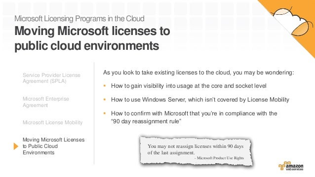 Microsoft Licensing Programs in the Cloud Moving Microsoft licenses to public cloud environments As you look to take exist...