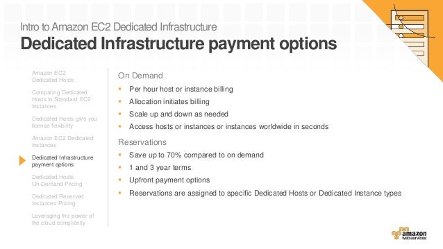 Intro toAmazon EC2 Dedicated Infrastructure Dedicated Infrastructure payment options On Demand  Per hour host or instance...