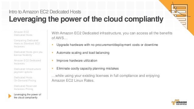 Intro toAmazon EC2 Dedicated Hosts Leveraging the power of the cloud compliantly With Amazon EC2 Dedicated infrastructure,...