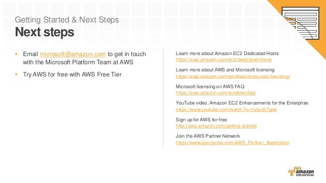 Getting Started & Next Steps Next steps Learn more about Amazon EC2 Dedicated Hosts https://aws.amazon.com/ec2/dedicated-h...