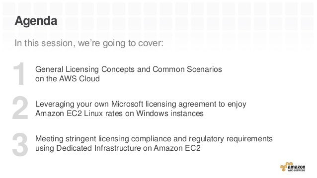 Agenda In this session, we're going to cover: General Licensing Concepts and Common Scenarios on the AWS Cloud Leveraging ...