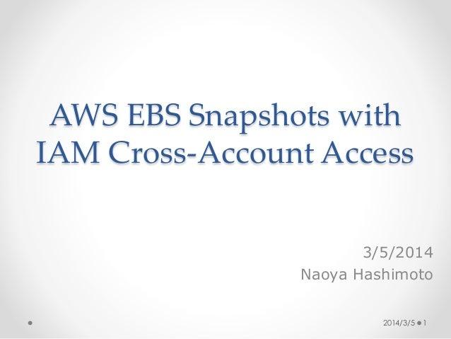AWS EBS Snapshots with IAM Cross-Account Access 3/5/2014 Naoya Hashimoto 2014/3/5 1