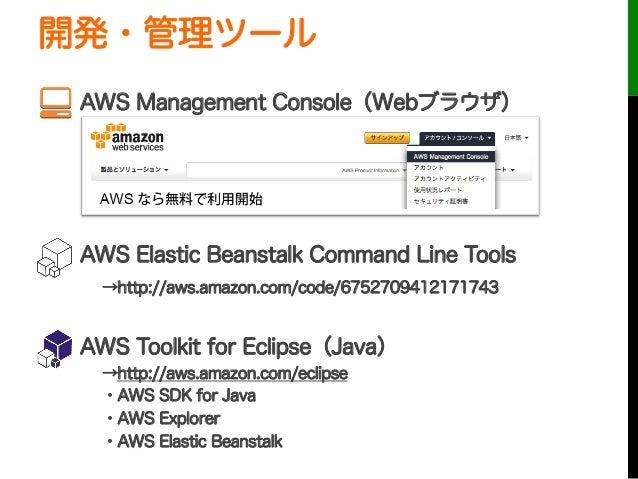 開発・管理ツールAWS Management Console(Webブラウザ)AWS Elastic Beanstalk Command Line Tools→http://aws.amazon.com/code/67527094121...