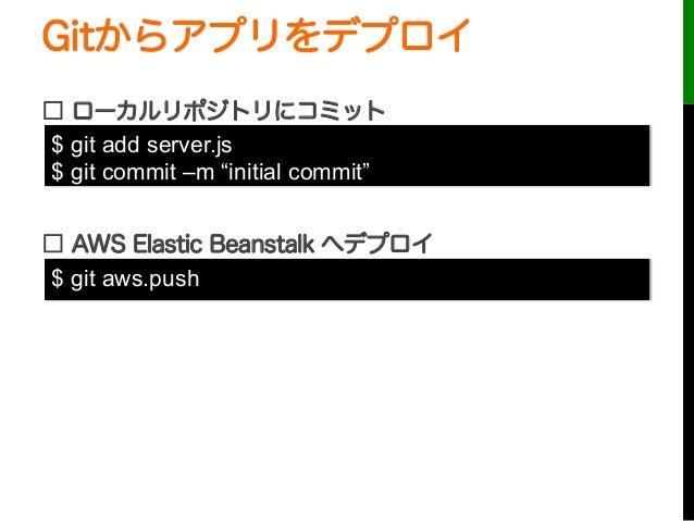 "Gitからアプリをデプロイ□ ローカルリポジトリにコミット□ AWS Elastic Beanstalk へデプロイ$ git add server.js$ git commit –m ""initial commit""$ git aws.push"