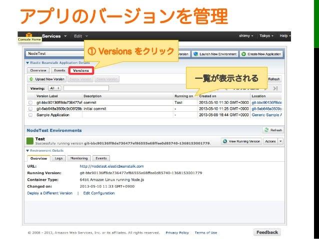 アプリのバージョンを管理① Versions をクリック一覧が表示される