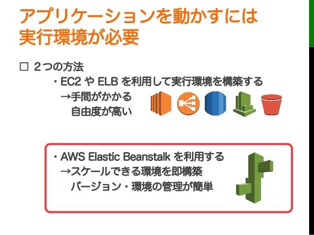 アプリケーションを動かすには実行環境が必要□ 2つの方法・EC2 や ELB を利用して実行環境を構築する→手間がかかる自由度が高い・AWS Elastic Beanstalk を利用する→スケールできる環境を即構築バージョン・環境...