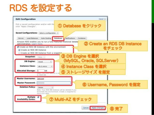 RDS を設定する① Database をクリック② Create an RDS DB Instanceをチェック⑥ Username, Password を指定⑦ Multi-AZ をチェック③ DB Engine を選択(MySQL, Or...