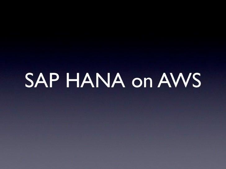 SAP HANA on AWS