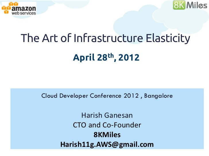 The Art of Infrastructure Elasticity              April 28th, 2012    Cloud Developer Conference 2012 , Bangalore         ...