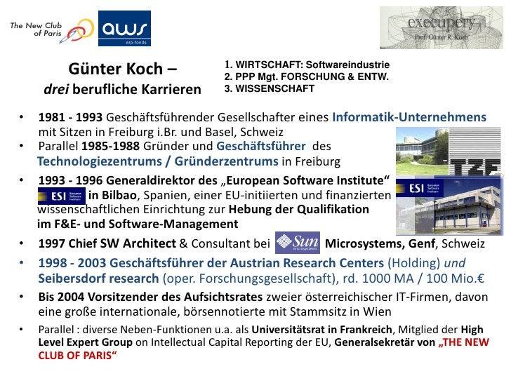 1. WIRTSCHAFT: Softwareindustrie          Günter Koch –                   2. PPP Mgt. FORSCHUNG & ENTW.     drei beruflich...