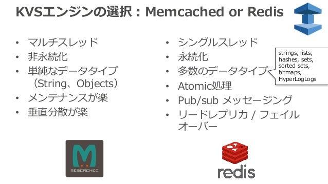KVSエンジンの選択:Memcached or Redis • マルチスレッド • ⾮永続化 • 単純なデータタイプ (String、Objects) • メンテナンスが楽 • 垂直分散が楽 • シングルスレッド • 永続化 • 多数のデータタ...