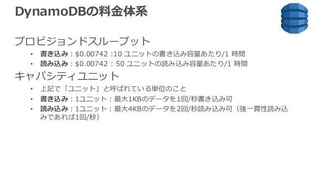 DynamoDBの料⾦体系 プロビジョンドスループット • 書き込み:$0.00742 :10 ユニットの書き込み容量あたり/1 時間 • 読み込み:$0.00742 : 50 ユニットの読み込み容量あたり/1 時間 キャパシティユニット • ...
