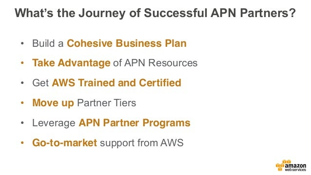 As a reminder, the APN Structure: Consulting Partners Professional services firms that help customers of all sizes design,...