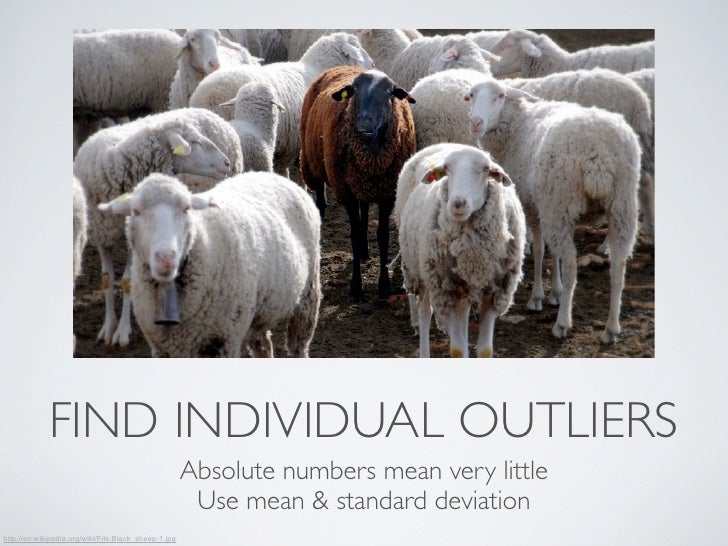 FIND INDIVIDUAL OUTLIERS                                                      Absolute numbers mean very little           ...