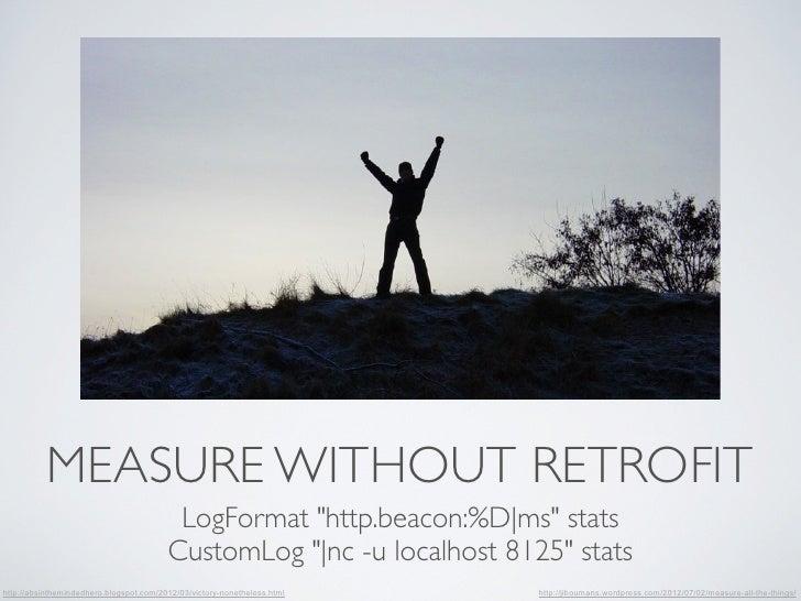 """MEASURE WITHOUT RETROFIT                                          LogFormat """"http.beacon:%D ms"""" stats                     ..."""