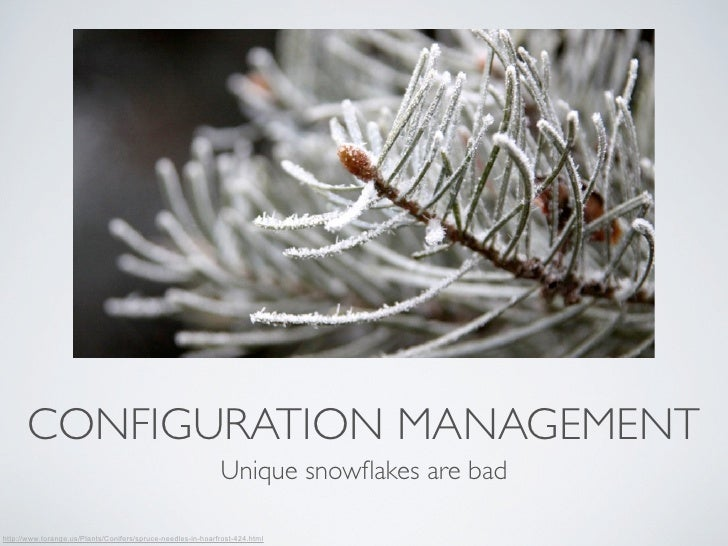 CONFIGURATION MANAGEMENT                                                             Unique snowflakes are badhttp://www.to...