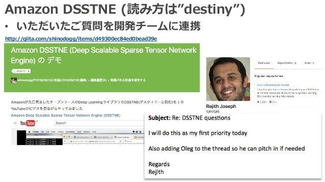 """Amazon DSSTNE (読み⽅は""""destiny"""") • いただいたご質問を開発チームに連携 http://qiita.com/shinodogg/items/d49300ec84ed0bead39e"""