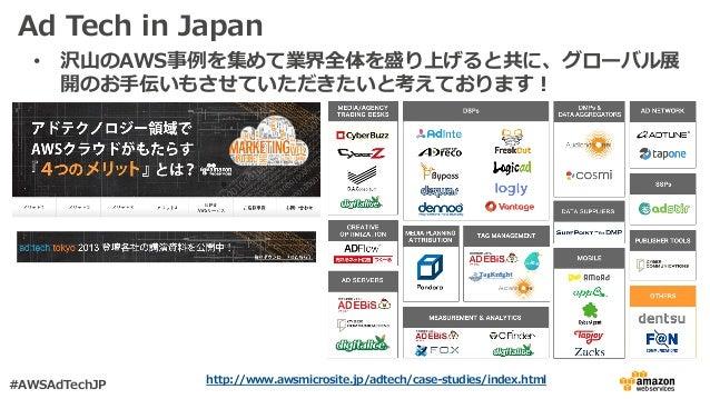 Ad Tech in Japan • 沢⼭のAWS事例を集めて業界全体を盛り上げると共に、グローバル展 開のお⼿伝いもさせていただきたいと考えております! http://www.awsmicrosite.jp/adtech/case-studi...