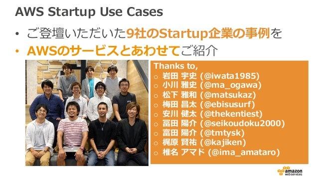 AWS Startup Use Cases • ご登壇いただいた9社のStartup企業の事例を • AWSのサービスとあわせてご紹介 Thanks to, o 岩⽥ 宇史 (@iwata1985) o ⼩川 雅史 (@ma_ogawa) o ...