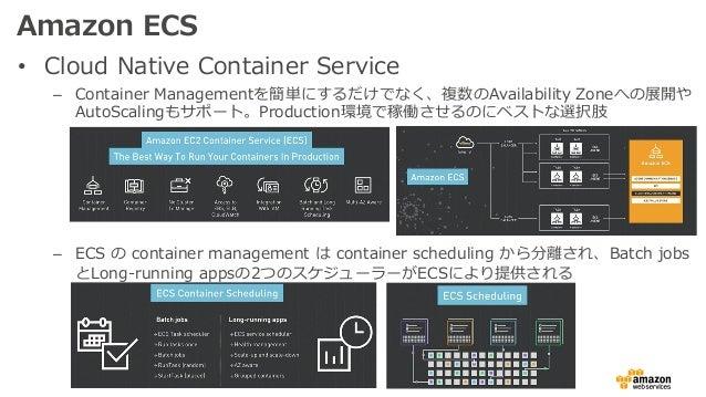 Amazon ECS • Cloud Native Container Service – Container Managementを簡単にするだけでなく、複数のAvailability Zoneへの展開や AutoScalingもサポート。P...