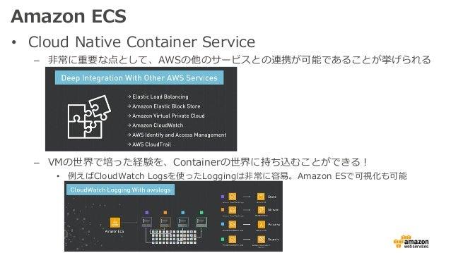 Amazon ECS • Cloud Native Container Service – ⾮常に重要な点として、AWSの他のサービスとの連携が可能であることが挙げられる – VMの世界で培った経験を、Containerの世界に持ち込むことがで...