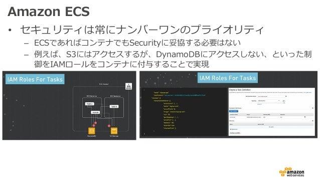 Amazon ECS • セキュリティは常にナンバーワンのプライオリティ – ECSであればコンテナでもSecurityに妥協する必要はない – 例えば、S3にはアクセスするが、DynamoDBにアクセスしない、といった制 御をIAMロールをコ...