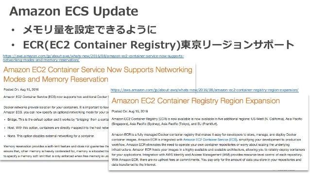 Amazon ECS Update • メモリ量を設定できるように • ECR(EC2 Container Registry)東京リージョンサポート https://aws.amazon.com/jp/about-aws/whats-new/2...