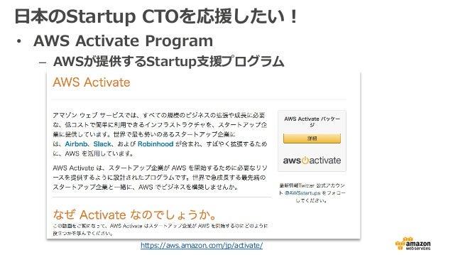 ⽇本のStartup CTOを応援したい! • AWS Activate Program – AWSが提供するStartup⽀援プログラム https://aws.amazon.com/jp/activate/