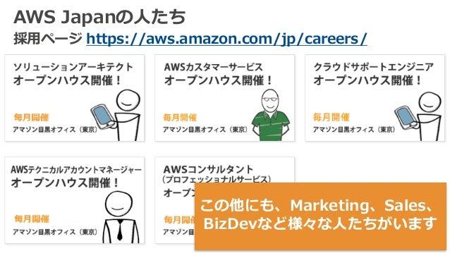 AWS Japanの⼈たち 採⽤ページ https://aws.amazon.com/jp/careers/ この他にも、Marketing、Sales、 BizDevなど様々な⼈たちがいます
