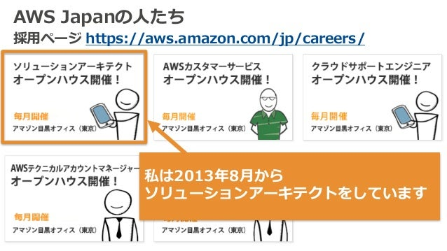 AWS Japanの⼈たち 採⽤ページ https://aws.amazon.com/jp/careers/ 私は2013年8⽉から ソリューションアーキテクトをしています