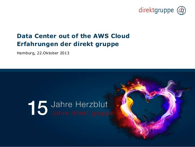 Data Center out of the AWS Cloud Erfahrungen der direkt gruppe Hamburg, 22.Oktober 2013