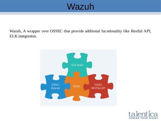 Wazuh Wazuh, A wrapper over OSSEC that provide additonal fucntionality like Restful API, ELK integration.