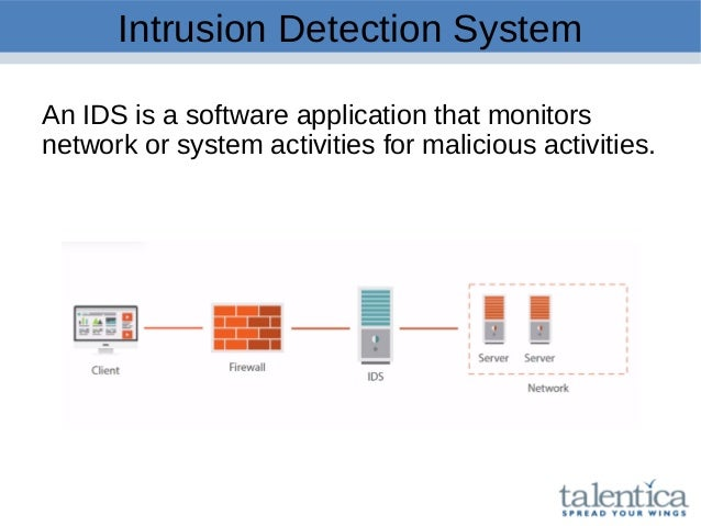 Intrusion Detection System An IDS is a software application that monitors network or system activities for malicious activ...