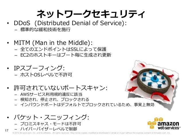 ネットワークセキュリティ • DDoS (Distributed Denial of Service):       – 標準的な緩和技術を施行 • MITM (Man in the Middle):       – 全てのエンドポイントはSS...