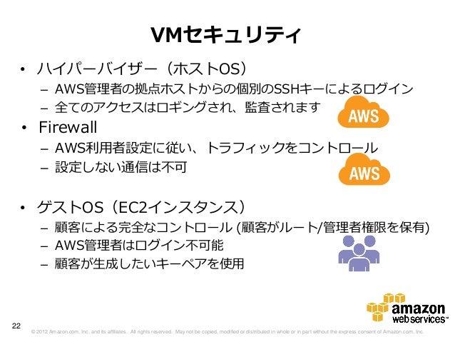 VMセキュリティ • ハイパーバイザー(ホストOS)          – AWS管理者の拠点ホストからの個別のSSHキーによるログイン          – 全てのアクセスはロギングされ、監査されます     • Firewall      ...