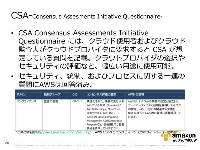 CSA-Consensus Assesments Initiative Questionnaire-     • CSA Consensus Assessments Initiative       Questionnaire には、クラウド使...