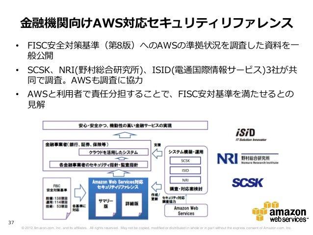 金融機関向けAWS対応セキュリティリファレンス     • FISC安全対策基準(第8版)へのAWSの準拠状況を調査した資料を一       般公開     • SCSK、NRI(野村総合研究所)、ISID(電通国際情報サービス)3社が共   ...