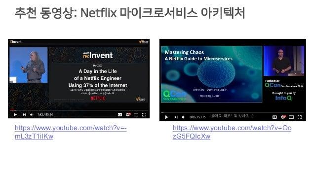 추천 동영상: Netflix 마이크로서비스 아키텍처 https://www.youtube.com/watch?v=Oc zG5FQIcXw https://www.youtube.com/watch?v=- mL3zT1iIKw