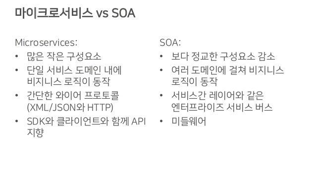 마이크로서비스 vs SOA Microservices: • 많은 작은 구성요소 • 단일 서비스 도메인 내에 비지니스 로직이 동작 • 간단한 와이어 프로토콜 (XML/JSON와 HTTP) • SDK와 클라이언트와 함께 AP...