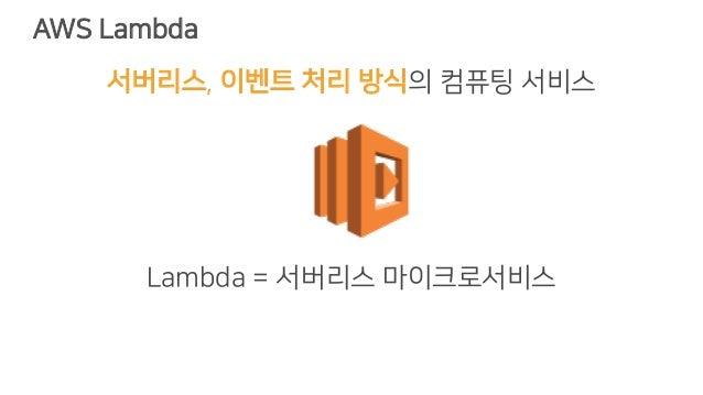 AWS Lambda 서버리스, 이벤트 처리 방식의 컴퓨팅 서비스 Lambda = 서버리스 마이크로서비스