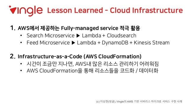 1. AWS에서 제공하는 Fully-managed service 적극 활용 • Search Microservice ▶ Lambda + Cloudsearch • Feed Microservice ▶ Lambda + Dyna...