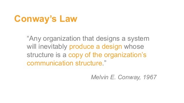 """""""Any organization that designs a system will inevitably produce a design whose structure is a copy of the organization's c..."""