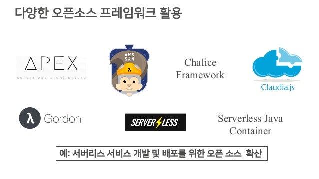다양한 오픈소스 프레임워크 활용 Chalice Framework Serverless Java Container 예: 서버리스 서비스 개발 및 배포를 위한 오픈 소스 확산