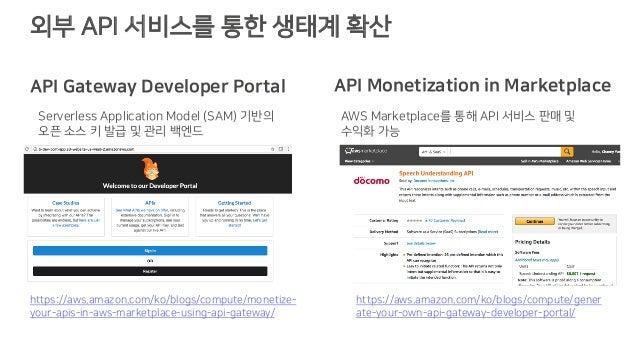 외부 API 서비스를 통한 생태계 확산 https://aws.amazon.com/ko/blogs/compute/gener ate-your-own-api-gateway-developer-portal/ https://aws...